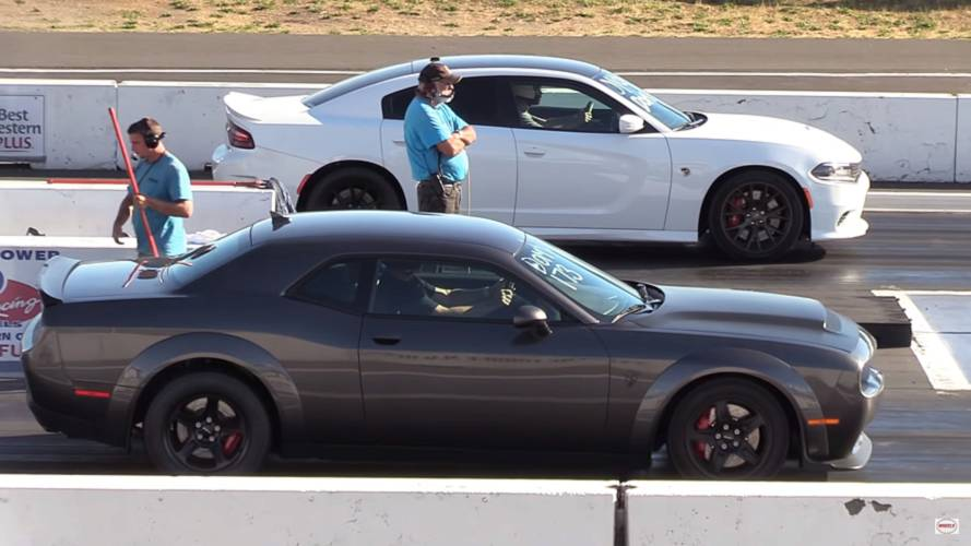 Watch The Dodge Demon Do Battle With A Modified Charger Hellcat