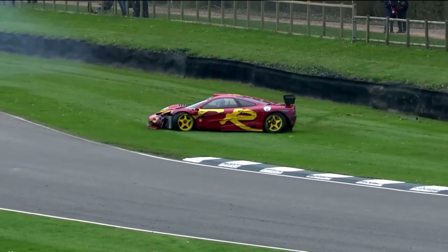 Pink Floyd's Nick Mason hits The Wall in his McLaren F1 GTR