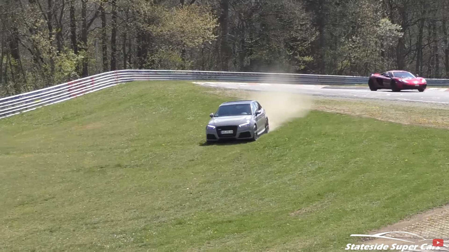 Watch These Five Audi RS3s Exit The Nürburgring At The Same Spot