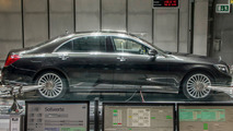 Mercedes-Benz S-Class with the CO2-based air conditioning system in the aeroacoustic wind tunnel