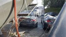 Collapsed crane destroys Jaguar XK-R and BMW 6-Series