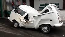 Crushed Volkswagen Van