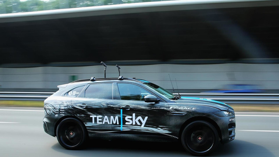 Jaguar F-Pace prototype performs support vehicle duties at Tour de France [video]