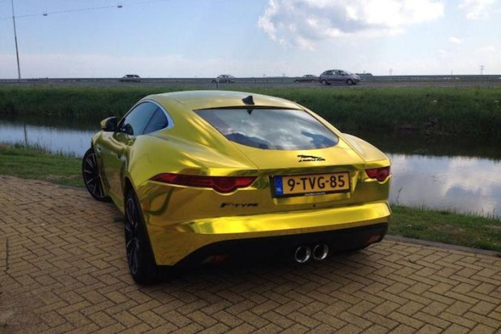 Great Terrible Gold Chrome Jaguar F Type Meets Terrible Gold Chrome Land Rover Gallery