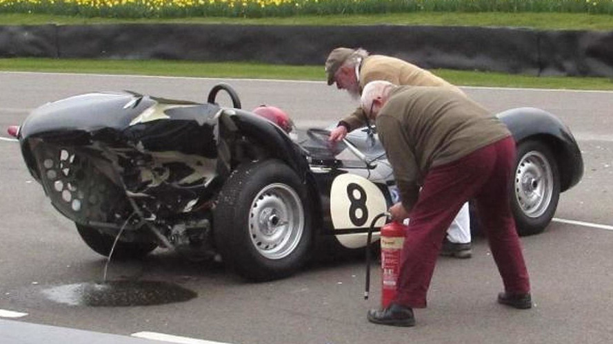 Classic Jaguar and Mercedes collide at Goodwood