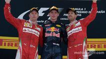 The podium: Max Verstappen, Kimi Raikonnen, Sebastian Vettel