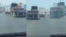 Otoyolda kötü biten kamyon kapışması