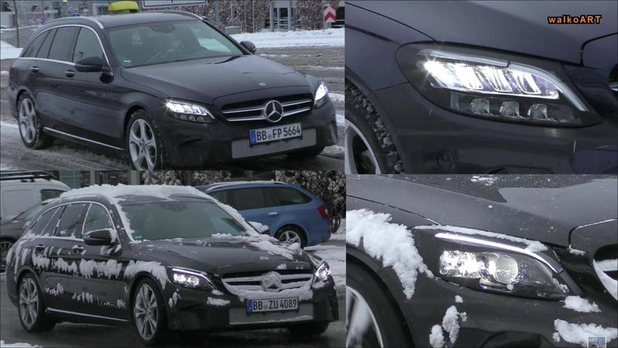 2018 Mercedes C-Class Wagons Spied With Two Types Of Headlights