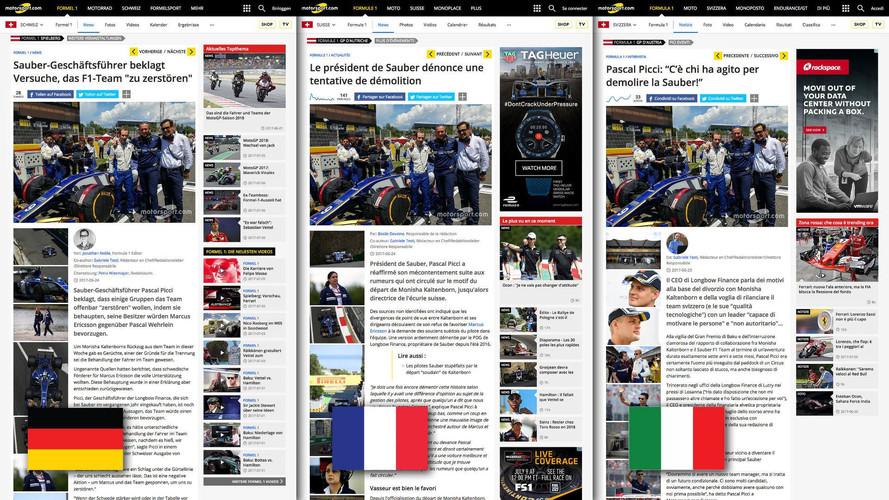 Motorsport.com Launches New Innovative Tri-Language Swiss Edition