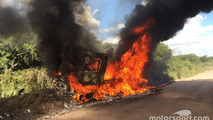 # 509 Renault: Martin van den Brink, Peter Willemsen, Richard Mouw burning Truck