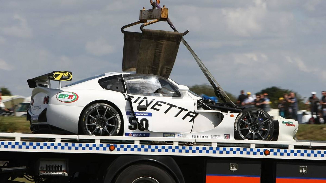 Adrian Newey (GBR), Red Bull Racing, Technical Operations Director (F1) crashed on an race of the 2010 Michelin Ginetta G50 Cup in an Ginetta 3 litre V6 G50 race car (white car), 08.08.2010, Snetterton, England