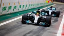 Lewis Hamilton, Mercedes AMG F1 W08, Valtteri Bottas, Mercedes AMG F1 W08, out of the pits