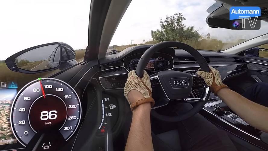 Benzinli V6 motora sahip Audi A8 nasıl hızlanıyor görelim