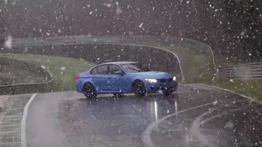 BMW M3, karlı Nürburgring'de kaza yaptı