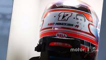 The helmet of Romain Grosjean, Haas F1 Team with a tribute to Jules Bianchi
