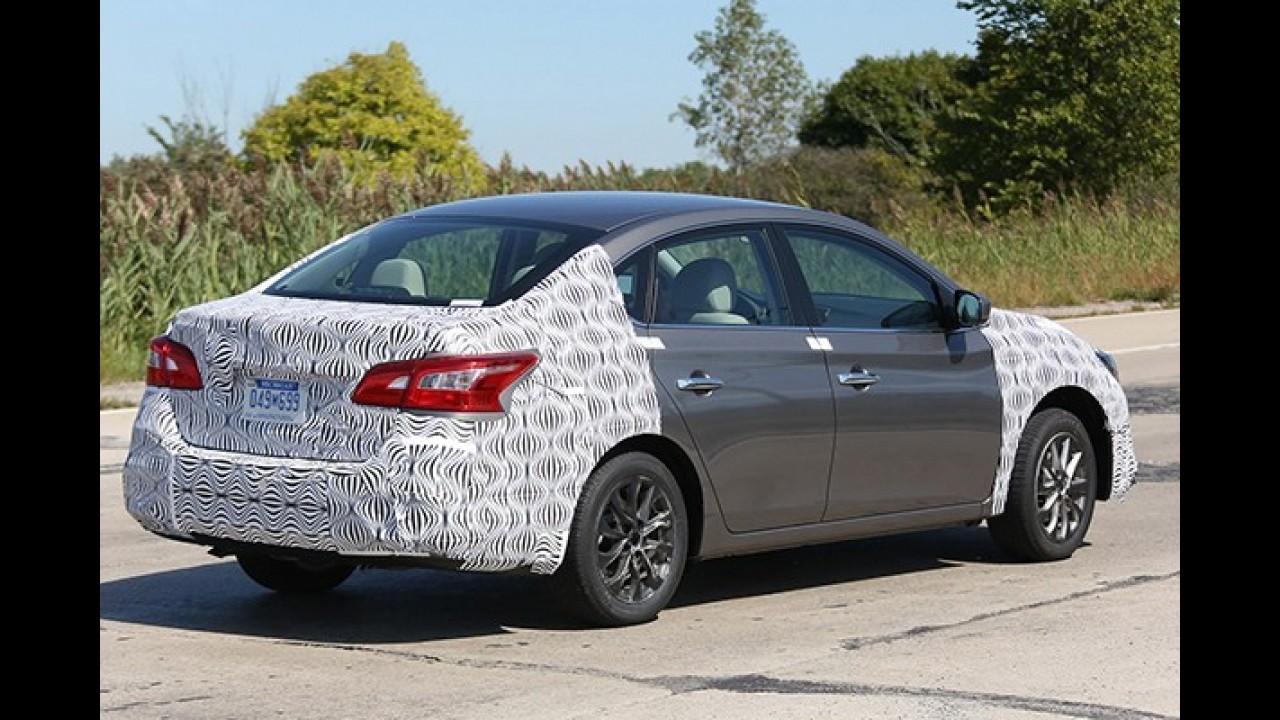 Flagra: Nissan Sentra reestilizado será apresentado em novembro