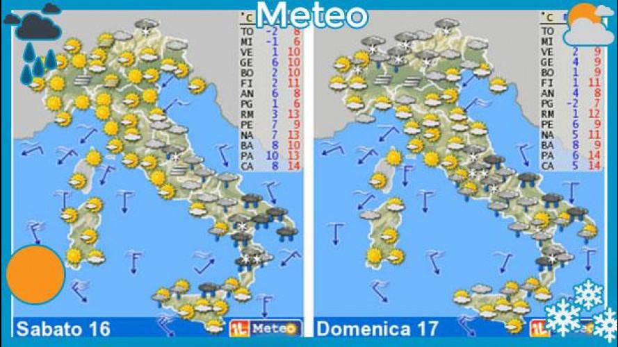 Meteo del fine settimana 16-17 febbraio: tempo instabile su tutta la Penisola