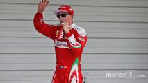 Kimi Raikkonen, Ferrari celebrates his third position in qualifying parc ferme