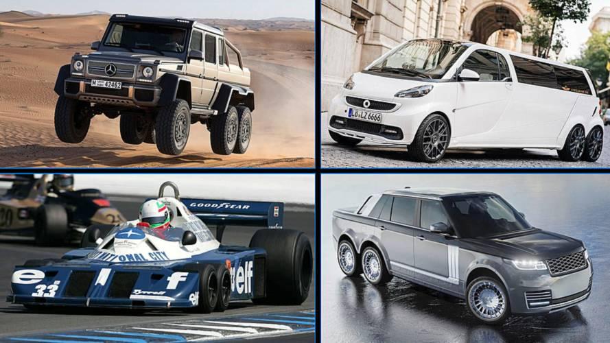8 Autos mit sechs Rädern ... und zwei mit Raupen