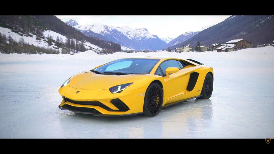Watch A Snowbound Lamborghini Aventador S Dance With An Airplane