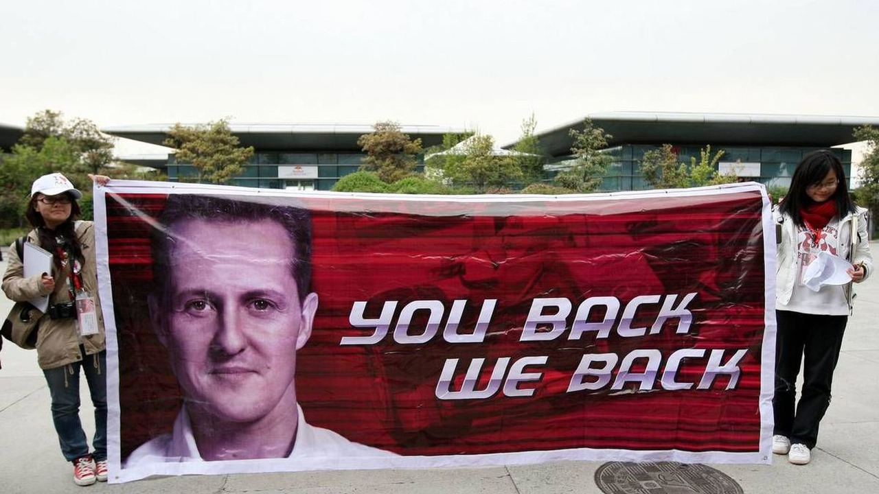 A banner for Michael Schumacher (GER), Mercedes GP Petronas, Chinese Grand Prix, 15.04.2010 Shanghai, China