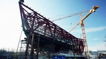Approximately 6,000 tons of steel will be needed for the new section of the Porsche Museum. (December 2006)