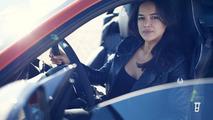 Michelle Rodriguez drives the Jaguar F-Type SVR
