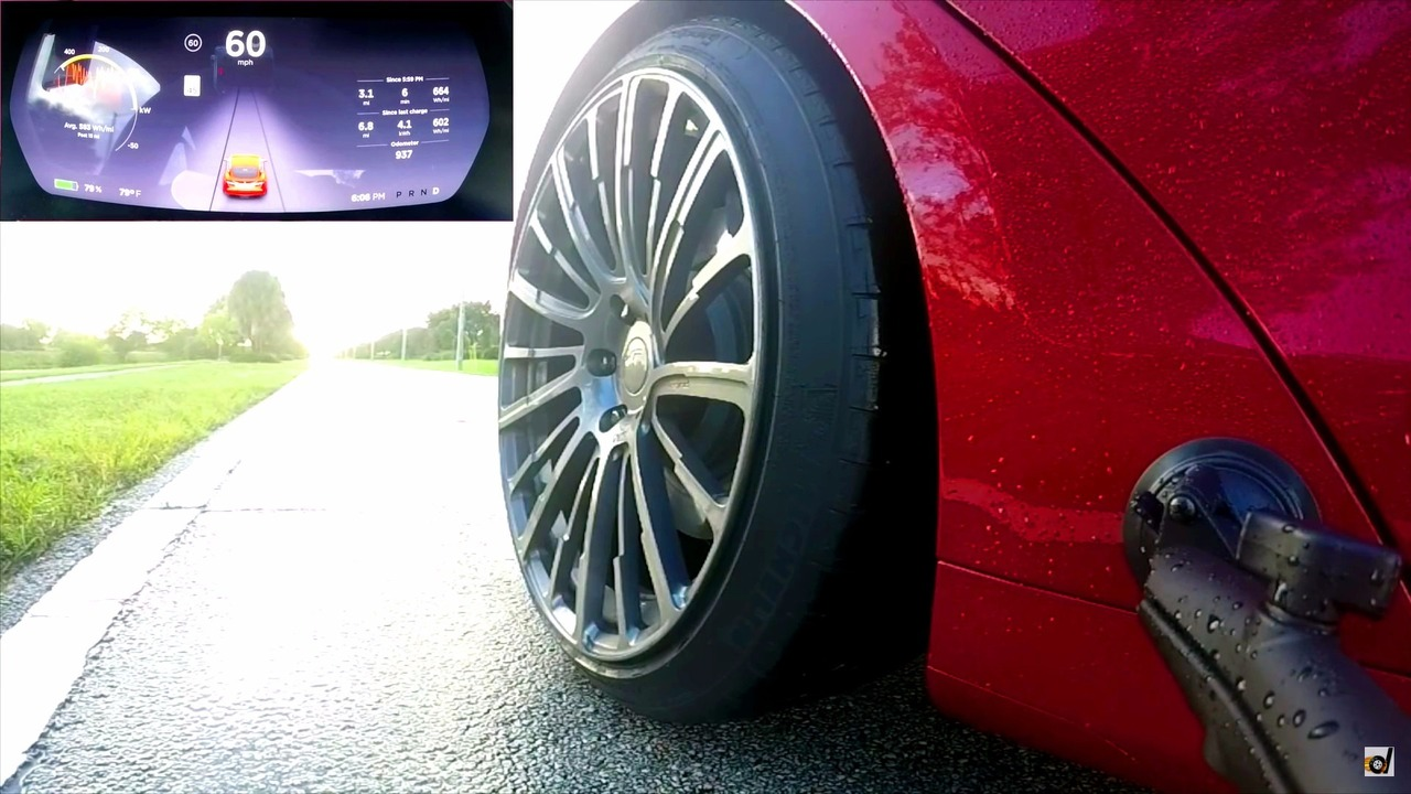 Tesla Model S Ludicrous Mode wet launch