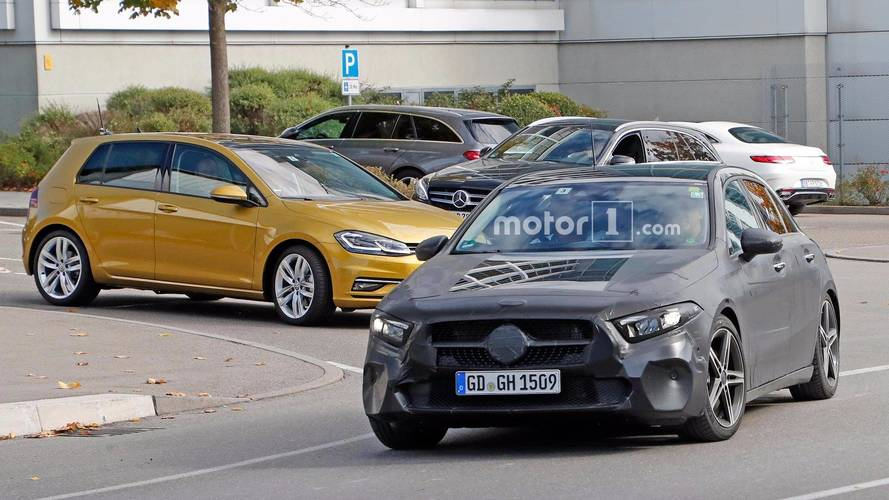 2018 Mercedes A-Class spied testing with Volkswagen Golf