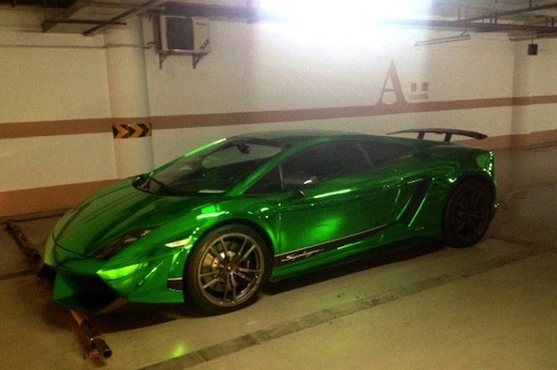 Chinese Lamborghini Gallardo Superleggera Wrapped in Chrome Green