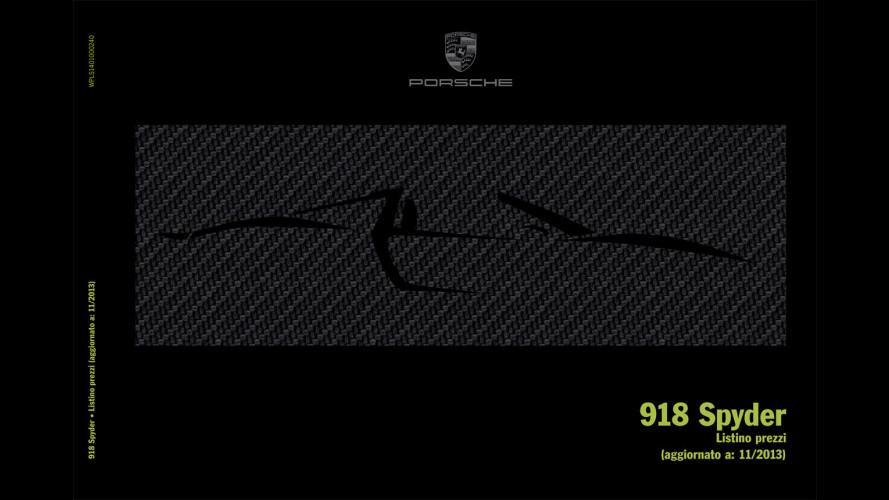 Porsche 918 Spyder, prezzi e optional da capogiro