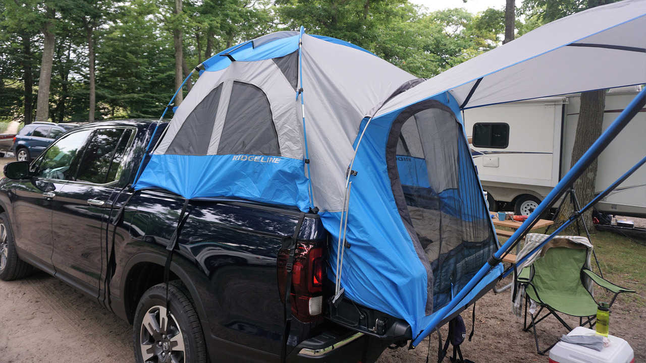 2017 Honda Ridgeline with tent accessory & Burgess: Out in the woods with the Honda Ridgeline