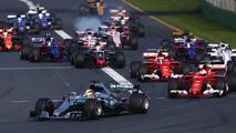 Start: Lewis Hamilton, Mercedes AMG F1 W08, leads Sebastian Vettel, Ferrari SF70H, Kimi Raikkonen, Ferrari SF70H, Felipe Massa, Williams FW40