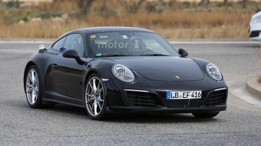 2018 Porsche 911 test mule spied with wider wheel arches