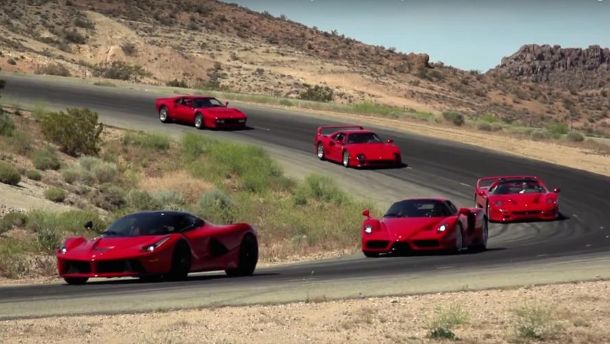 Jay Leno, beş önemli Ferrari ile pistte