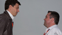 Toto Wolff, Mercedes AMG F1 Shareholder and Executive Director with Eric Boullier, McLaren Racing Director