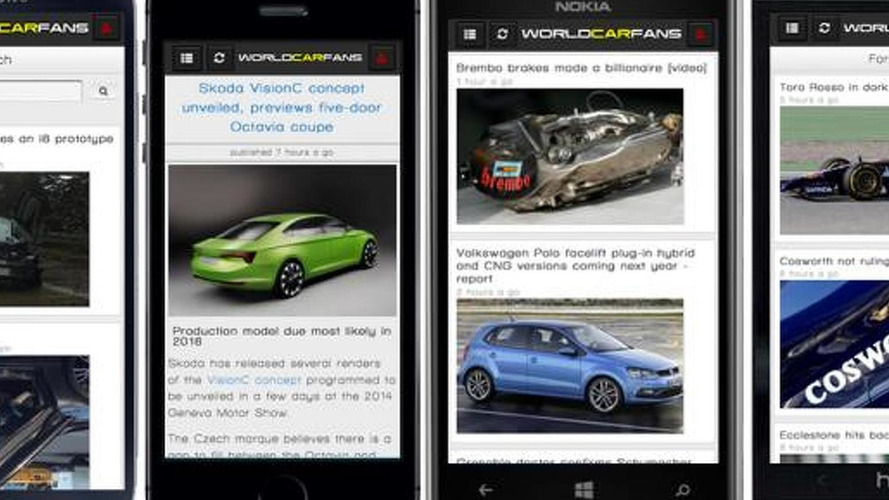 Worldcarfans App on Android and iphone