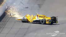 Spencer Pigot, Rahal Letterman Lanigan Racing Honda in a huge crash