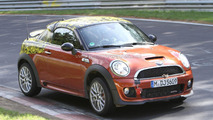 2012 MINI Coupe JCW spied on Nürburgring with dead bird in grille