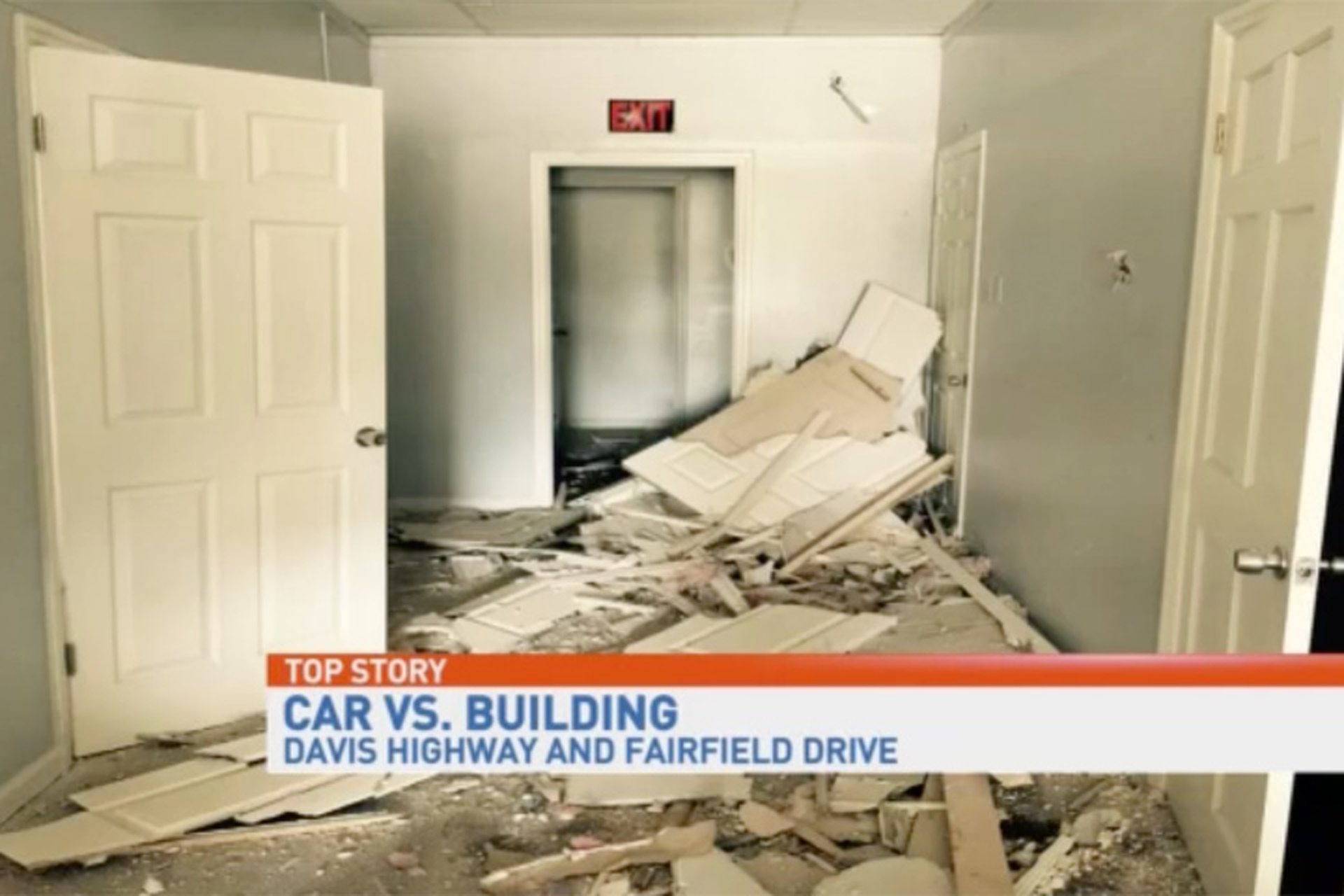 Man Crashes a Dodge Challenger Through a Building Attempting to Time Travel