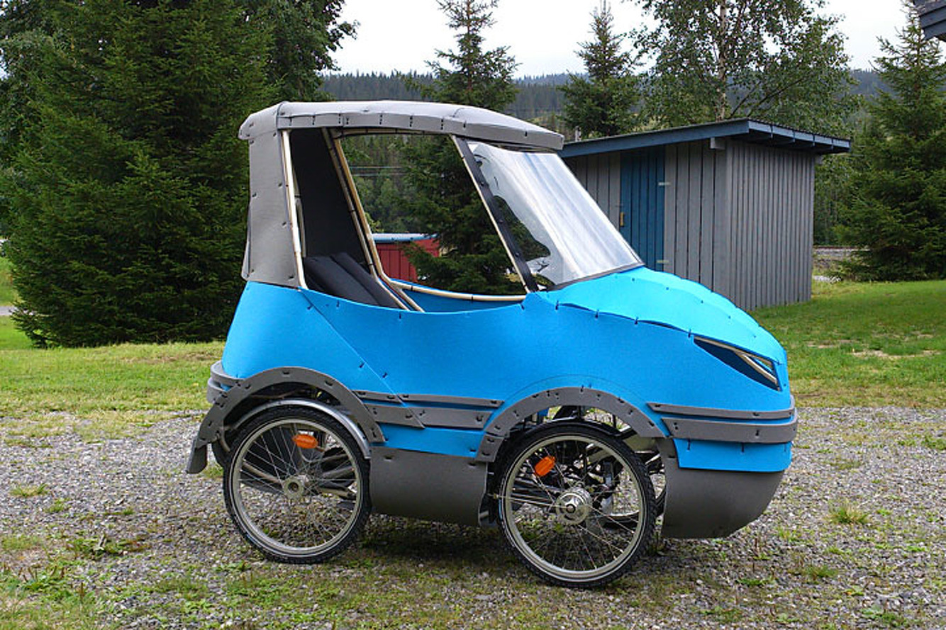 bicycle car on indiegogo solves issue of biking in rain or