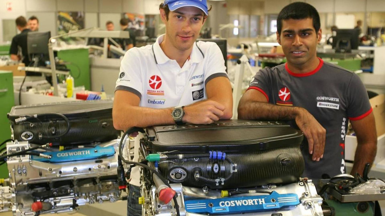 Bruno Senna (BRA), Hispania Racing F1 Team HRT and Karun Chandhok (IND), Hispania Racing F1 Team HRT, visit of the Cosworth factory in Northhampton, British Grand Prix, 08.07.2010 Silverstone, England