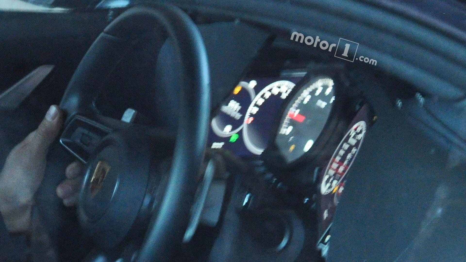 porsche 911 spied with almost all digital instrument cluster