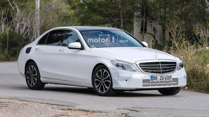 Mercedes C-Class Refresh Spied Under Very Light Camouflage
