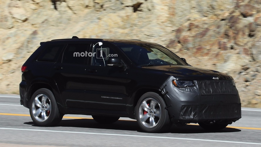jeep grand cherokee trackhawk spied with beefy parts to handle 707 hp. Black Bedroom Furniture Sets. Home Design Ideas
