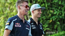 (L to R): Daniil Kvyat, Scuderia Toro Rosso with Nico Hulkenberg, Sahara Force India F1
