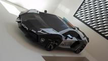 Lamborghini Aventador Police Car Cardboard Model