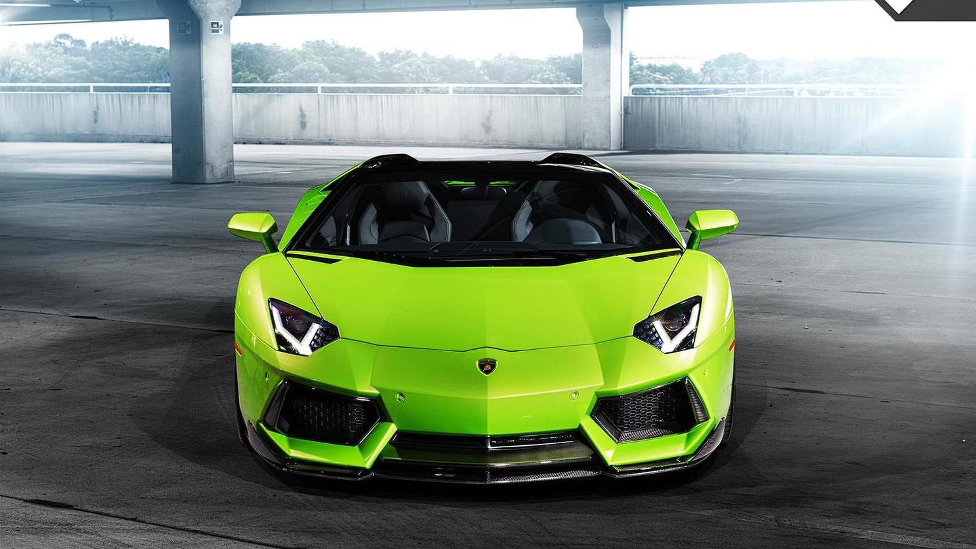 Зелёная Lamborghini Aventador-V Roadster The Hulk