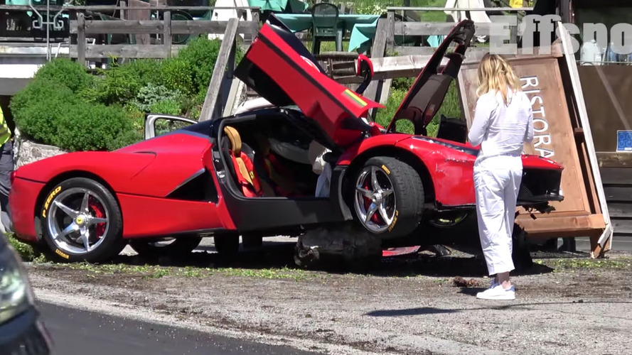 LaFerrari beaches itself on a boulder (NSFW language)