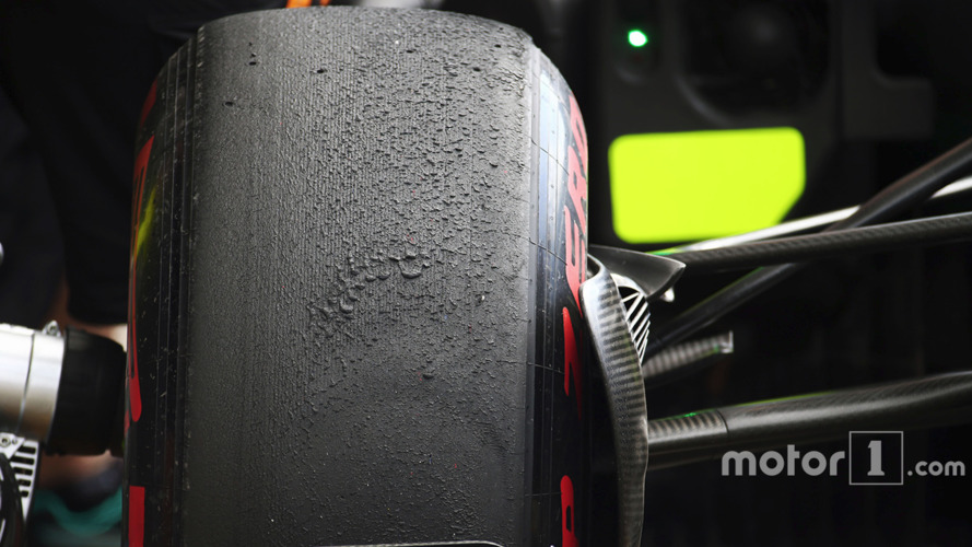 Pirelli tyre on a Mercedes AMG F1 W07 Hybrid